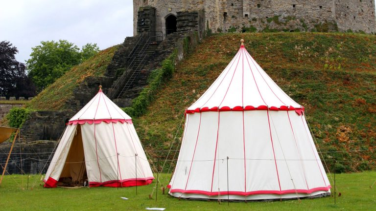Cardiff, United Kingdom - June 17, 2011: A medieval fair in the walls of Cardiff Castle.